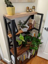 Reclaimed wood plant stand // Four shelf bookcase // Custom piece for Guy - Workshop-25