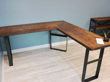 reclaimed wood desk with three rectangular steel legs - photographed in office with blue walls