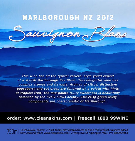 Marlborough NZ 2015 Sauvignon Blanc x 12 bottles