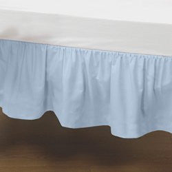 BabyDoll Portable Crib Solid Dust Ruffles, Light Blue