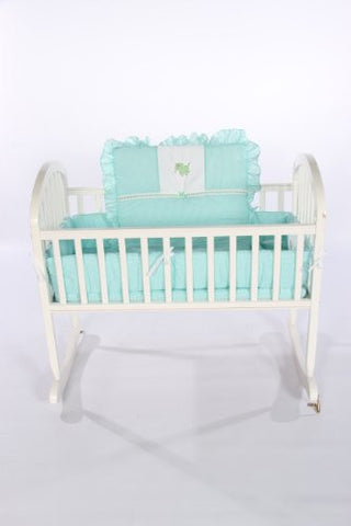 Baby Doll Bedding Gingham with Elephant Applique Cradle Bedding Set, Mint