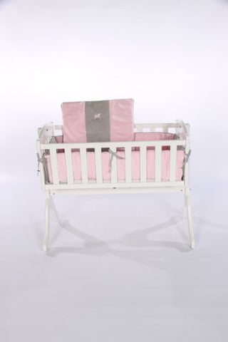 Baby Doll Bedding Cozy Carousel Minky with Embroidery Cradle Bedding Set, Pink