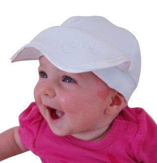 Baby Nap Cap Sleep Aid Mask & Infant Sun Visor Hat - Gift Box, White