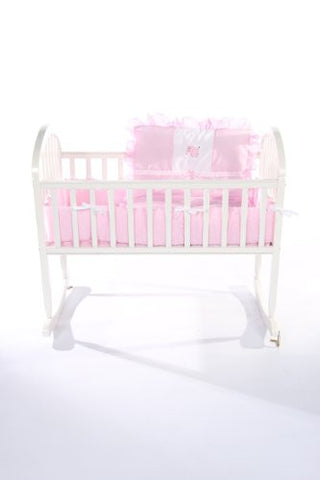 Baby Doll Bedding Gingham with Elephant Applique Cradle Bedding Set, Pink