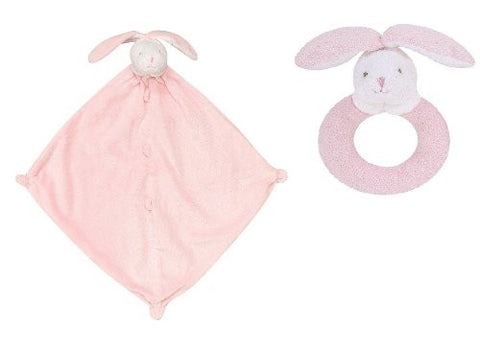 Angel Dear Pink Bunny Blankie & Ring Rattle Set