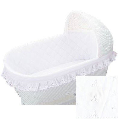 Baby Doll Bassinet Bumper, Ruffle, White