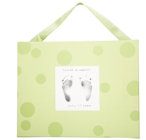 Baby Footprint Kit and Canvas (Baby Shower Gift for Parents, Grandparents and the Nursery), Green Bubbles