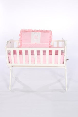 Baby Doll Bedding Solid with Flower Applique Cradle Bedding Set, Pink