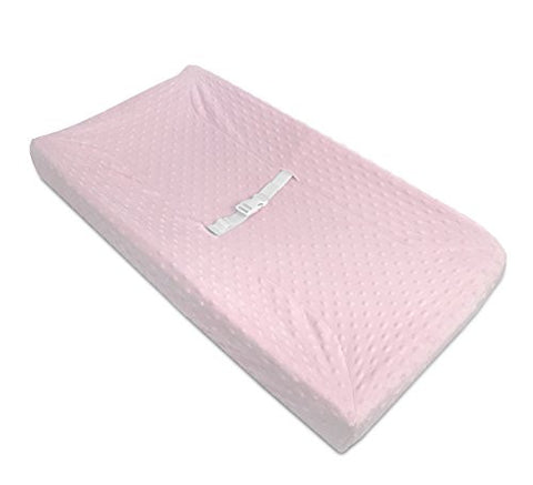 American Baby Company Heavenly Soft Minky Dot Fitted Contoured Changing Pad Cover, Pink Puff