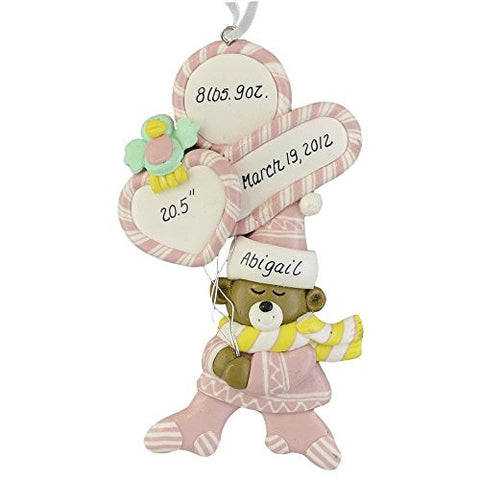 Baby Girl Birth Stats Claydough Christmas Ornament