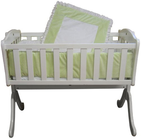 Baby Doll Bedding Snuggle Diamond Minky Cradle Bedding Set, Sage