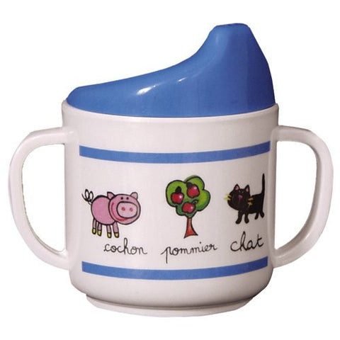 Baby Cie Melamine Sippy Cup with French Words, La Ferme (Farm)