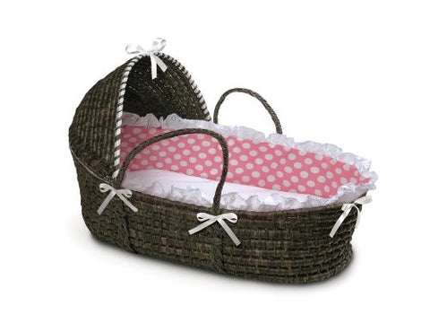 Badger Basket Moses Basket with Polka Dot Hood and Bedding, Espresso/Pink