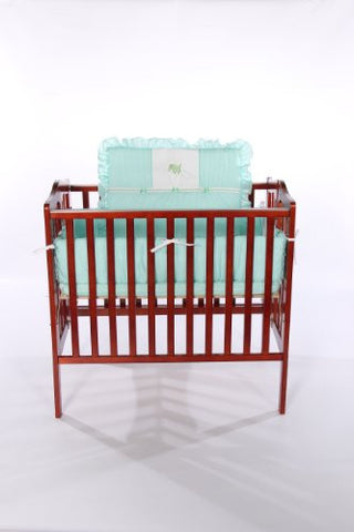 Baby Doll Bedding Gingham with Elephant Applique Mini Crib/ Port-a-Crib Bedding Set, Mint