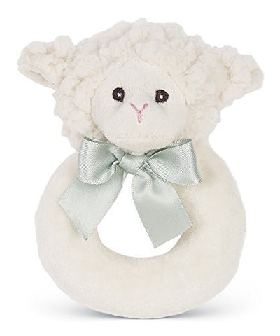 Bearington Baby Lil' Lamby Plush Lamb, Soft Baby Ring Rattle 5.5