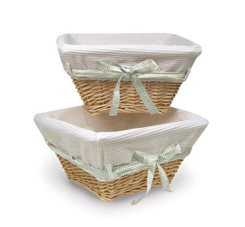 Badger Basket Wicker Nursery Basket Set of 2 with Liners/Ribbons, Natural/White