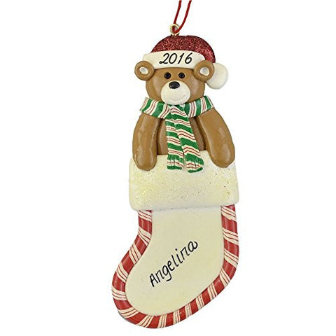 Bear in Stocking Clay Dough Decoration