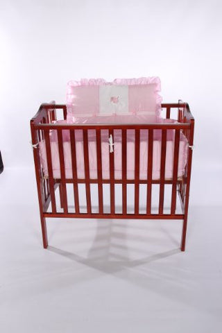 Baby Doll Bedding Gingham with Elephant Applique Mini Crib/ Port-a-Crib Bedding Set, Pink