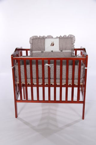 Baby Doll Bedding Gingham with Bear Applique Mini Crib/ Port-a-Crib Bedding Set, Brown