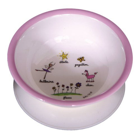 Baby Cie Melamine Suction Bowl with French Wording, Ballerine (Ballerina)