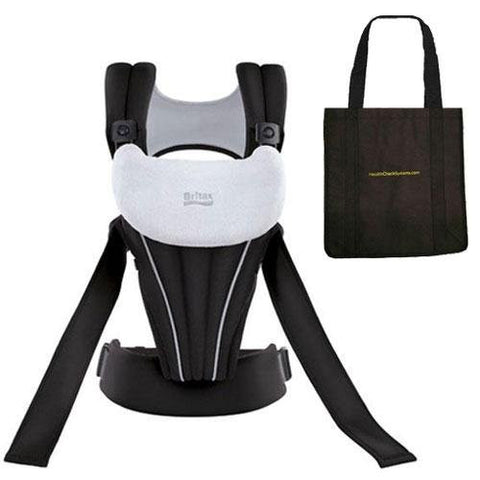 Britax - Front Soft Baby Carrier in Black with a Black Tote Carry Bag