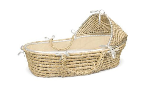 Badger Basket Natural Moses Basket with Hood, Ecru Waffle Bedding