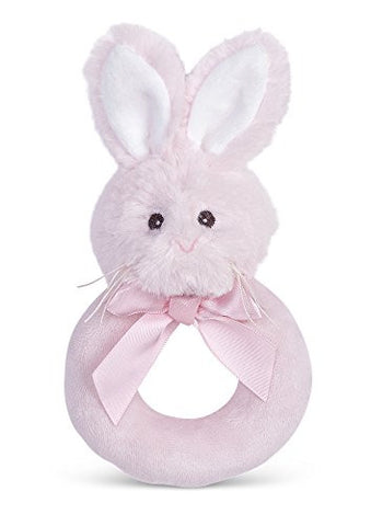 Bearington Baby Lil' Bunny Pink Plush, Soft Baby Ring Rattle 5.5