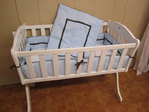 Baby Doll Bedding Hotel Style Cradle Bedding Set, Blue