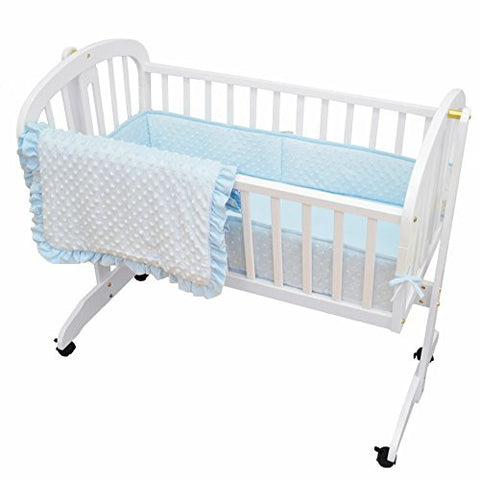 American Baby Company Heavenly Soft Minky Dot 3-Piece Cradle Bedding Set, Blue