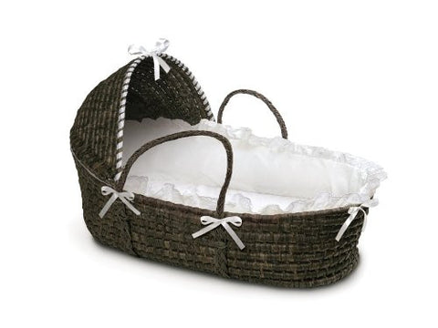 Badger Basket Moses Basket with Hood and Bedding, Espresso/White