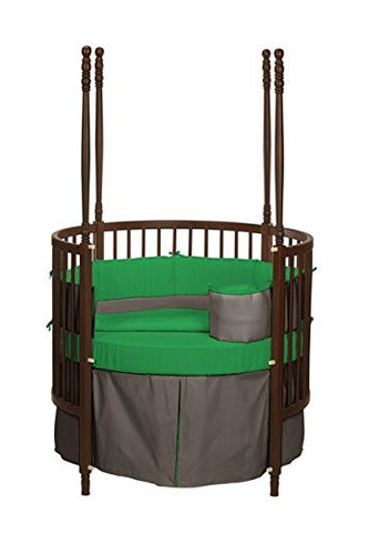 Baby Doll Bedding Solid Reversible Round Crib Bedding Set, Brown/Green