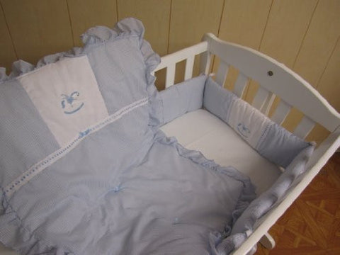 Baby Doll Bedding Gingham Cradle Bedding Set, Blue