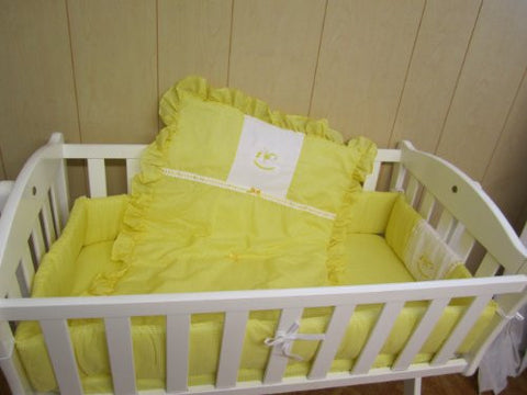 Baby Doll Bedding Gingham with Rocking Horse Applique Cradle Bedding Set, Yellow