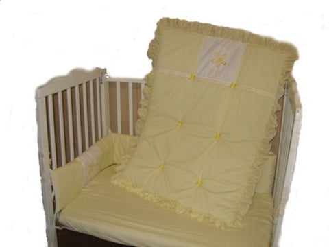 Baby Doll Bedding Solid with Flower Applique Mini Crib/ Port-a-Crib Bedding Set, Yellow