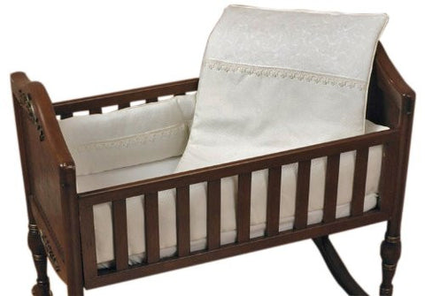 Baby Doll Bedding Madisson Puffed Brocade with Lace Mini Crib/ Port-a-Crib Bedding Set, Ivory