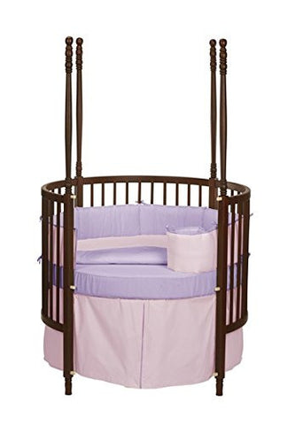 Baby Doll Bedding  Solid Reversible Round Crib Bedding Set, Pink/Lavender