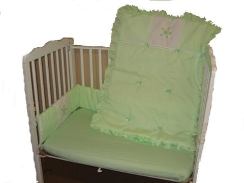 Baby Doll Bedding Solid with Flower Applique Mini Crib/ Port-a-Crib Bedding Set, Mint
