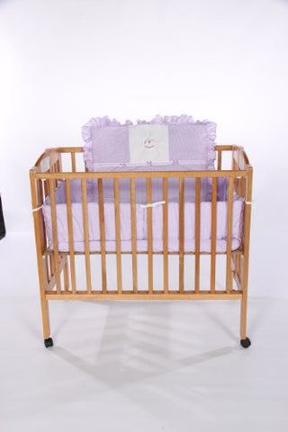 Baby Doll Bedding Gingham with Rocking Horse Applique Mini Crib/ Port-a-Crib Bedding Set, Lavender