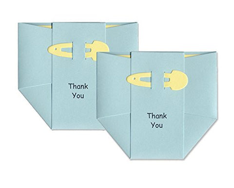 Baby Thank-you Cards - Baby Boy - Blue Diapers with Yellow Pins