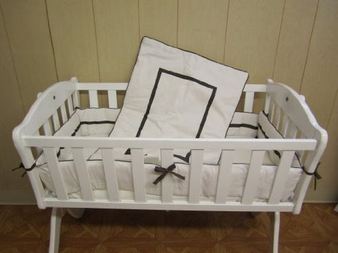 Baby Doll Bedding Hotel Style Cradle Bedding Set, Ecru