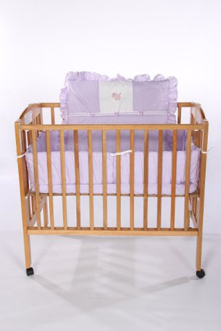 Baby Doll Bedding Gingham with Elephant Applique Mini Crib/ Port-a-Crib Bedding Set, Lavender