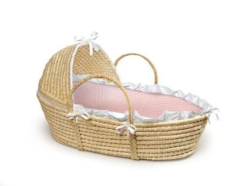 Badger Basket Natural Baby Moses Basket with Hood Bedding, Pink Gingham