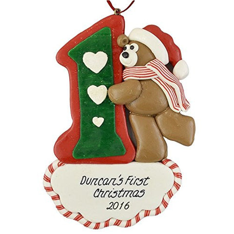 Baby's First Christmas Bear Personalized Claydough Ornament