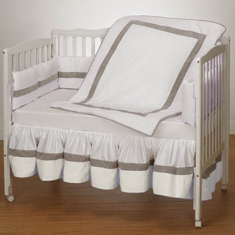 Baby Doll Bedding Classic II Mini Crib/ Port-a-Crib Bedding Set, White