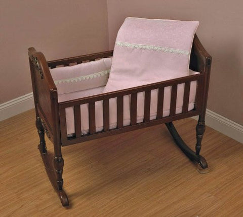 Baby Doll Bedding Madisson Puffed Brocade with Lace Crib Bedding Set, Pink