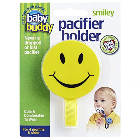 Baby Buddy Smiley Pacifier Holder, Yellow