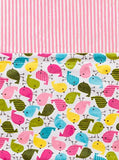 Baby Laundry Patterned Baby Blanket for Boys Girls - Baby Birds/Pink Stripe Cuddle (13x18)