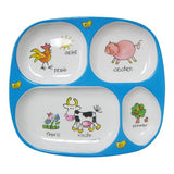 Baby Cie TV Tray 4 part divided tray 8 with French Wording and Theme, La Ferme (Farm)