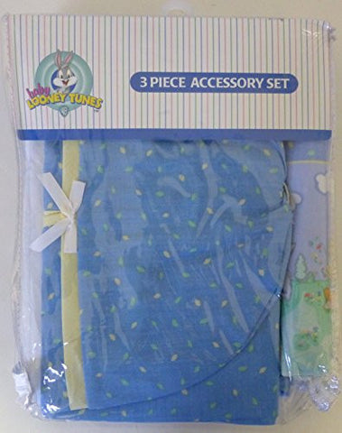 Baby Looney Tunes 3 Piece Playday Accessory Set - Crib Skirt, Flannel Receiving Blanket, Diaper Stacker