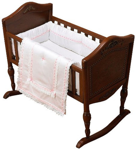 Baby Doll Bedding Royal Classic Cradle Bedding Set, Pink
